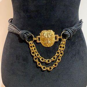 Vintage Black & Gold Lionhead w/ chains EUC!!!